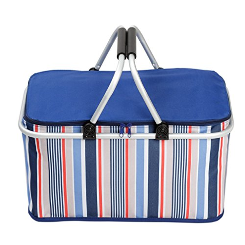 XMCOWAYOU Foldable Cooler Insulated Picnic Basket for Camping, Hiking, Climbing Dark blue