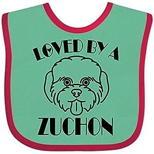 Inktastic Zuchon Dog Mom Gift Baby Bib Green and Red 3923b 1