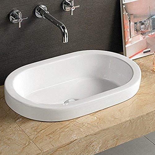 Bathroom Ceramic Semi-Recessed Porcelain vessel drop-in Sink Self-Rimming SR842T & Free Chrome Pop Up Drain