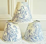 French country toile lamp shade 4.3 ins x 5.1 ins clip on for sconce or chandelier