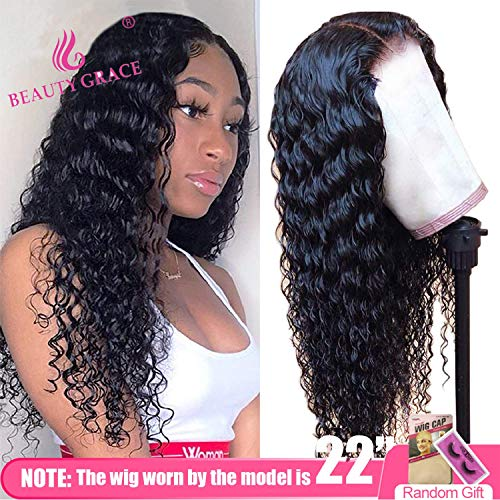 Beauty Grace Deep Wave Lace Closure Human Hair Wigs 9A Brazilian Virgin 20Inch Human Hair Wigs for Fashion Women Natural Color(20inches)
