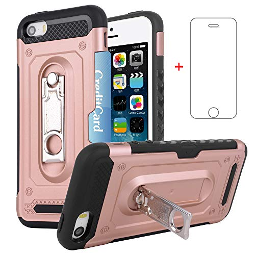 allet i Phone Case Women Girls Silicone Protective Cover with Tempered Glass Screen Protector Credit Card Holder Stand for Apple iPhone5 iPhone5s iPhoneSE iPhone5SE Pink Rose Gold ()