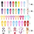 130pcs Hair Clips, Teenitor No Slip Metal 2 Inch Snap Barrettes Girls Women Accessories Candy Color Assorted Cartoon Design Hairpins (Animals Stars Drips Crinkles)