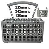 SPARES2GO Cutlery Basket Cage & Lid & Tablet Holder for BUSH Dishwasher (Removable Handle, 235 x 242 x 130)