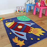 The Rug House Boy's Blue Soft Outer Space Rocket Ship Kid's Area Rug - 2'3 x 3'3