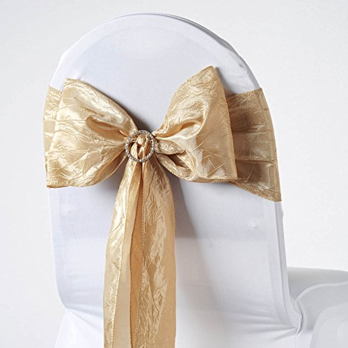 BalsaCircle 10 Champagne Taffeta Crinkle Chair Sashes Bows Ties - Wedding Party Ceremony Reception Decorations Supplies Wholesale