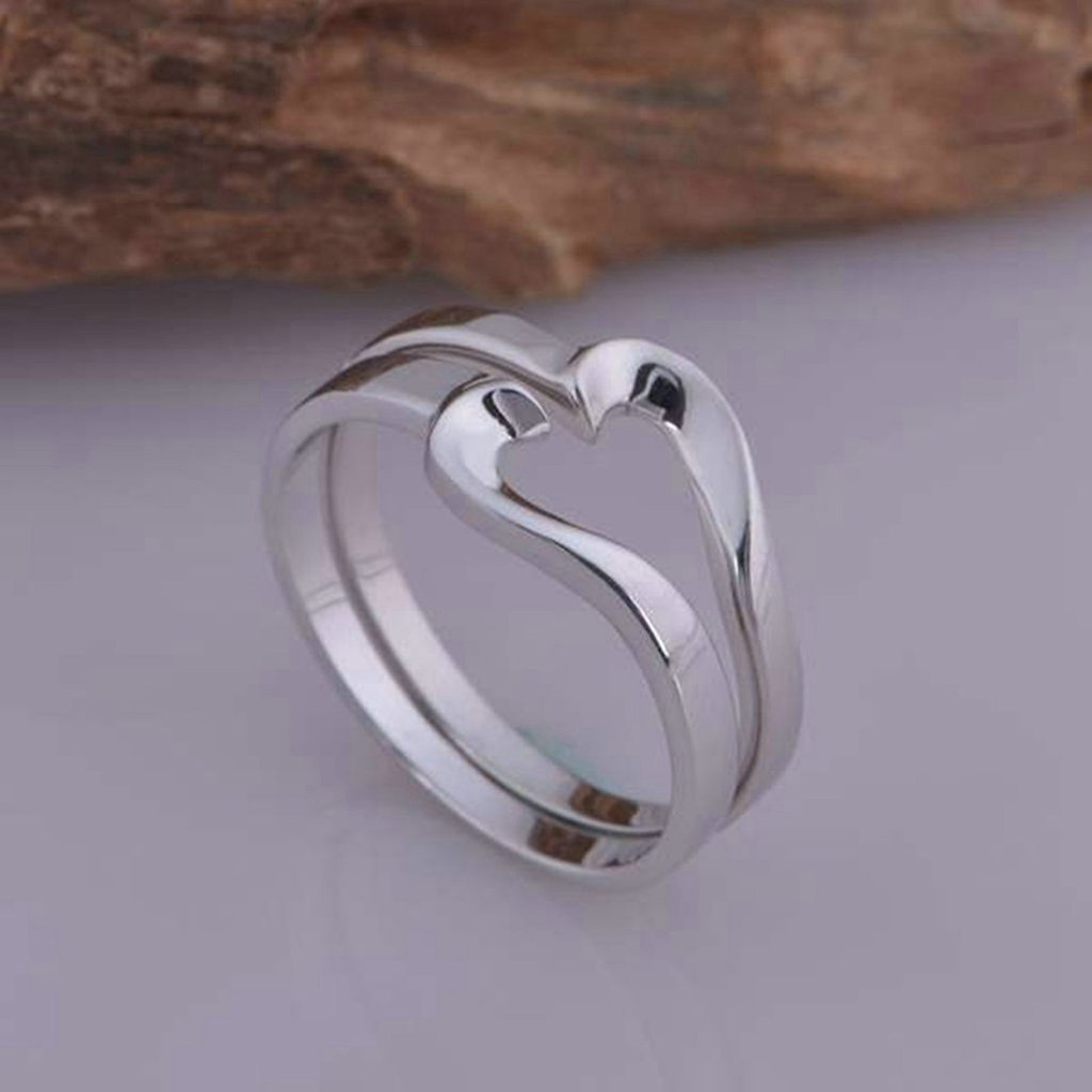 Rings Mens Wedding Ring Band Heart Puzze Matching Rings For His 5mm Size 8 Silver Gnzoe Jewelry
