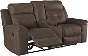 Signature Design by Ashley - Jesolo Casual Faux Leather Double Reclining Loveseat w/ Console - Dark Brown