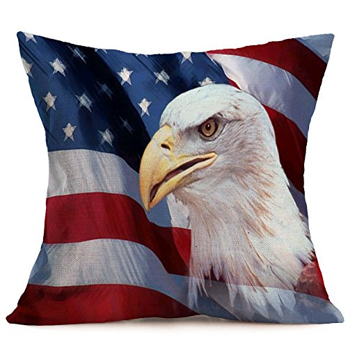Qinqingo Pillow Covers July 4th Decorations Bald Eagle American Flag Throw Pillow Covers Cushion Case Cotton Linen Independence Day Decor for Sofa Couch 18