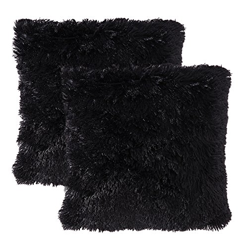 MIULEE Pack of 2 Luxury Faux Fur Throw Pillow Cover Deluxe Decorative Plush Pillow Case Cushion Cover Shell for Sofa Bedroom Car 18 x 18 Inch Black (Black Fur Pillow)