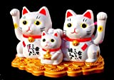 QOCOO Oriental Chinese Mascot Feng Shui and Home Decoration Statue,Japanese Maneki Neko Solar Luck Cat Family Waving Arm, Cute Gift or Toy, Attract Wealth, Fortune & Luck