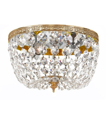 Flush Mounts 2 Light With Olde Brass Clear Swarovski Strass Crystal 10 inch 120 Watts - World of - Crystal Olde Brass Strass Swarovski