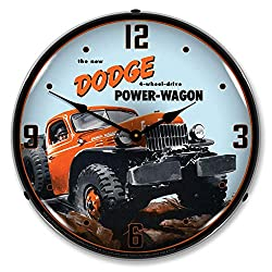 The New Dodge 4-Wheel Drive Power Wagon LED Wall Clock, Retro/Vintage, Lighted, 14 inch