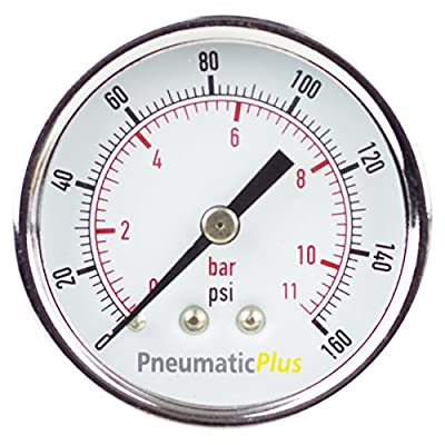 "PneumaticPlus PSB20-160CP Air Pressure Gauge for Air Compressor WOG Water Oil Gas Chrome Plated 2"" Dial Center Back Mount 1/4"" NPT 0-160"