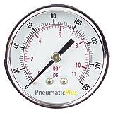 "PneumaticPlus PSB20-160CP Air Pressure Gauge for Air Compressor WOG Water Oil Gas Chrome Plated 2"" Dial Center Back Mount 1/4"" NPT 0-160"