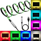 Led Strip Light Kits, Jayme 1m(3.28ft) RGB LED Strip Backlight with Mini-Controller in Line, Multi-Color Changing Suitable for Flat Screen TV, Desktop PC, Neon Sign Decoration