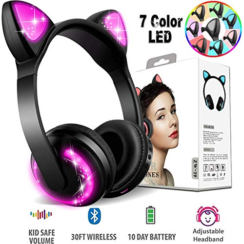 Xsmner Wireless Bluetooth Cat Ear Headphones with Mic 7 Colors LED Light Flashing Glowing On-Ear Stereo Headset Compatible with Smartphones PC Tablet ()