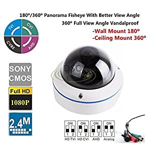 High Quality Full View 180/360 Degree Fisheye 2.0MP Panoramic HDTVI Camera Outdoor 1080P Lens CCTV