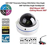 CCTV Fisheye Mini Dome Camera -180˚/360˚ Panorama View Angle/700TVL Vandalproof