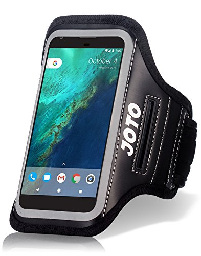 (JOTO Running Armband for iPhone 8, 7, 6, 6s, Samsung Galaxy S6, S7, HTCM9, Google Pixel, Pixel 3 2, Phone Sport Arm Case Cover Pouch with Key Holder for Gym Jogging Walking Workout and Exercise -Black)