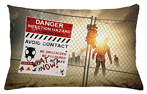 Zombie Throw Pillow Cushion Cover, Dead Man Walking in Dark Danger Scary Scene Fiction Halloween Infection Picture, Decorative Accent Pillow Case, 20 W X 30 L inches, Multicolor