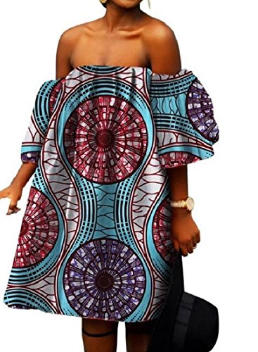Coolred-femmes, Plus La Taille Épaule Batik Floral Africain Au Large De Jupons Lâche Huit