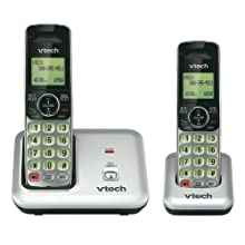 VTech CS6419-2 2-Handset DECT 6.0 Cordless Phone with Caller ID, Expandable up to 5 Handsets, Wall Mountable, Silver/Black