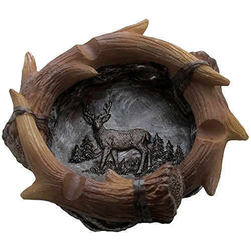 Deer Tray (Decorative Deer Antler Ashtray in Rustic Hunting Lodge Bar Decorations or Cabin Decor and Artistic Wildlife Animal Collectibles and Gifts for Buck Hunters or Outdoorsmen)