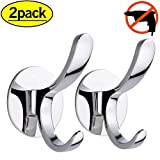 HOOMTAOOK Double Bathroom Hooks Rustproof Wall Mount Stainless Steel Nail Free Glue+Double Sided Adhesive No Drill For Coat,Towel and Robe With Two Prongs(Silver) 2 Pack