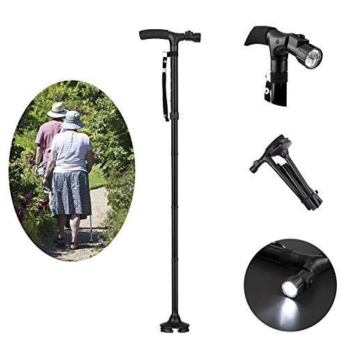 Fold Pp Wall (XUANR Adjustable Folding Walking Cane - LED Light Walking Stick for Men & Women - Cane with Cushioned Handle Walking Crutches Folds in Seconds - Fashionable & Sturdy)