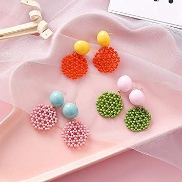 LLDEH Pendientes Dulces para Niña Perlas de Colores Colgante Moda Círculo Geométrico