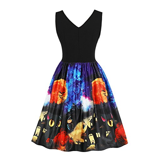 Wellwits Women's Vampire Castle Pumpkin Cats Bats Halloween Vintage Dress 82 4XL -