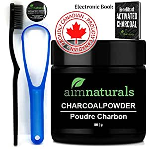 Best Natural Teeth Whitening Activated Charcoal Powder In Bulk (50g)+ FREE High Density Toothbrush + Tongue Cleaner + Benefits of Activated Charcoal eBook Value Pack   Premium Raw 100% Pure Natural Organic Coconut Charcoal Powder LARGE  100% Pure Food Grade, No Artificial Flavors or Hardwood Used - Better Alternative Than Bleach Brighten, Teeth Whitening Strips, Kits and Toothpaste