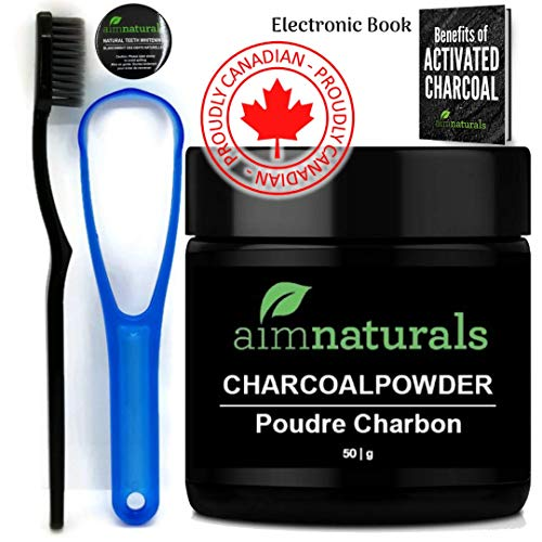 aimnaturals Natural Teeth Whitening Activated Charcoal Powder 50 grams Plus Toothbrush, Tongue cleaner and eBook