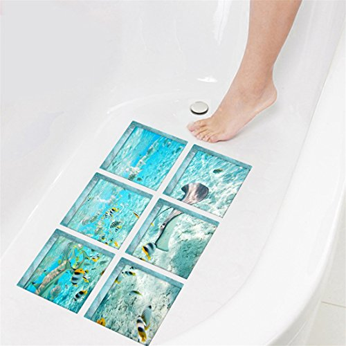 Wall Floor Decor Backsplash - GWELL Creative 3D Self Adhesive Bathtub Stickers Waterproof Safety Appliques DIY Wall Floor Decals Decor for Bathroom Kitchen Backsplash, 5.9×5.9Inch, Pack of 6 (Underwater World)