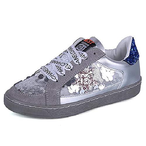 Toe Gray Summer Mujer Round Heel Blanco PU Sneakers de ZHZNVX Zapatos Poliuretano Flat Comfort Gris Lentejuela 4BZxwP