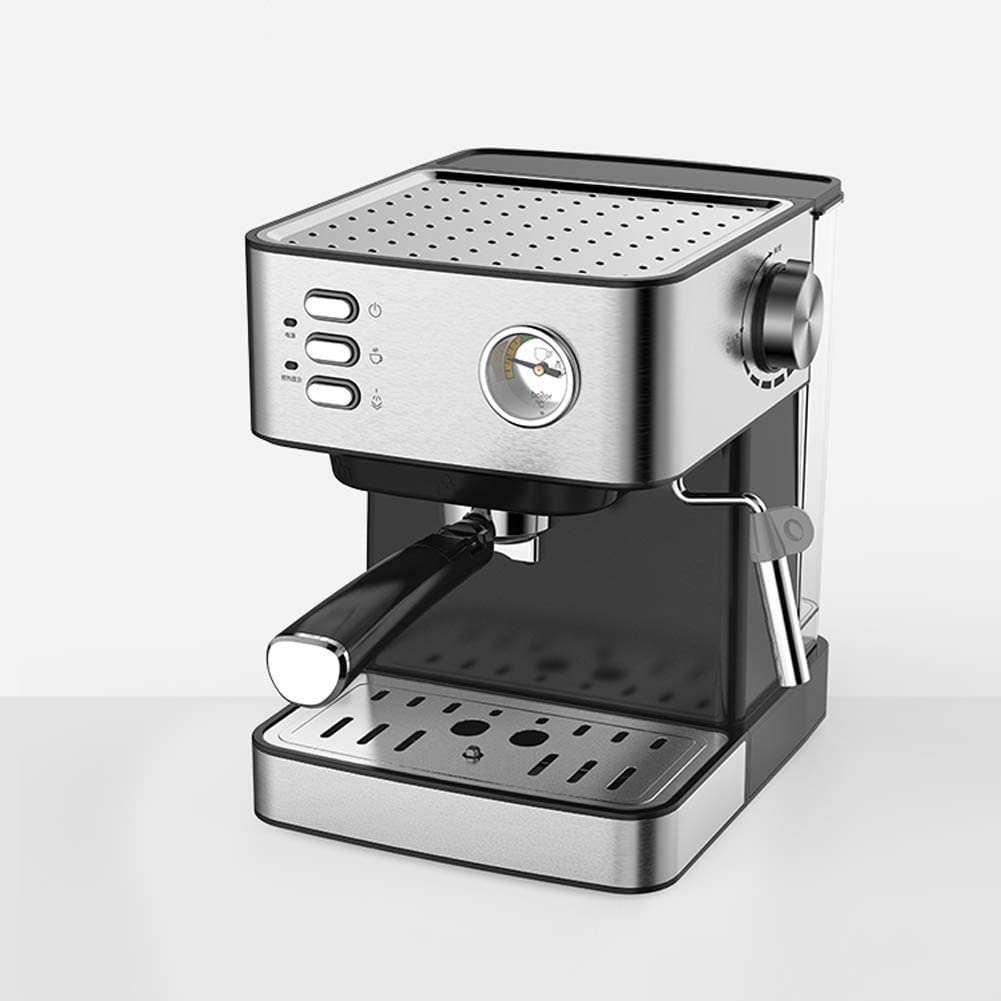 Máquina de espresso, Cafetera Espresso Steam & Pump 20 bar de presión/Termómetro observable/1.5 litros/850 vatios/Espuma de leche de vapor para el Hogar/Oficina - Plata: Amazon.es: Hogar