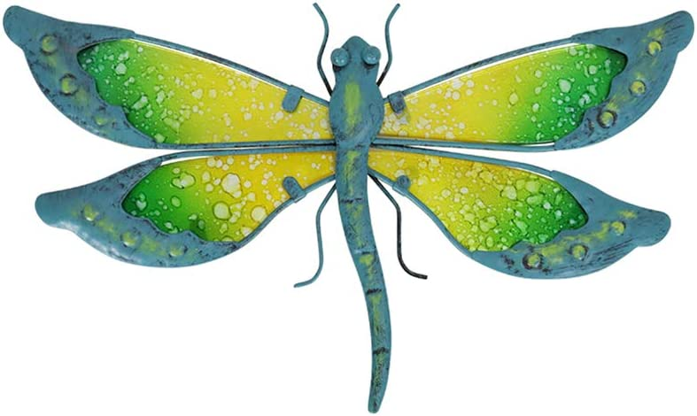 Liffy Metal Dragonfly Wall Decor Outdoor Indoor Dragonfly Hanging Decorations Garden Fence Metal and Glass Hanging Art for Porch,Patio,Yard