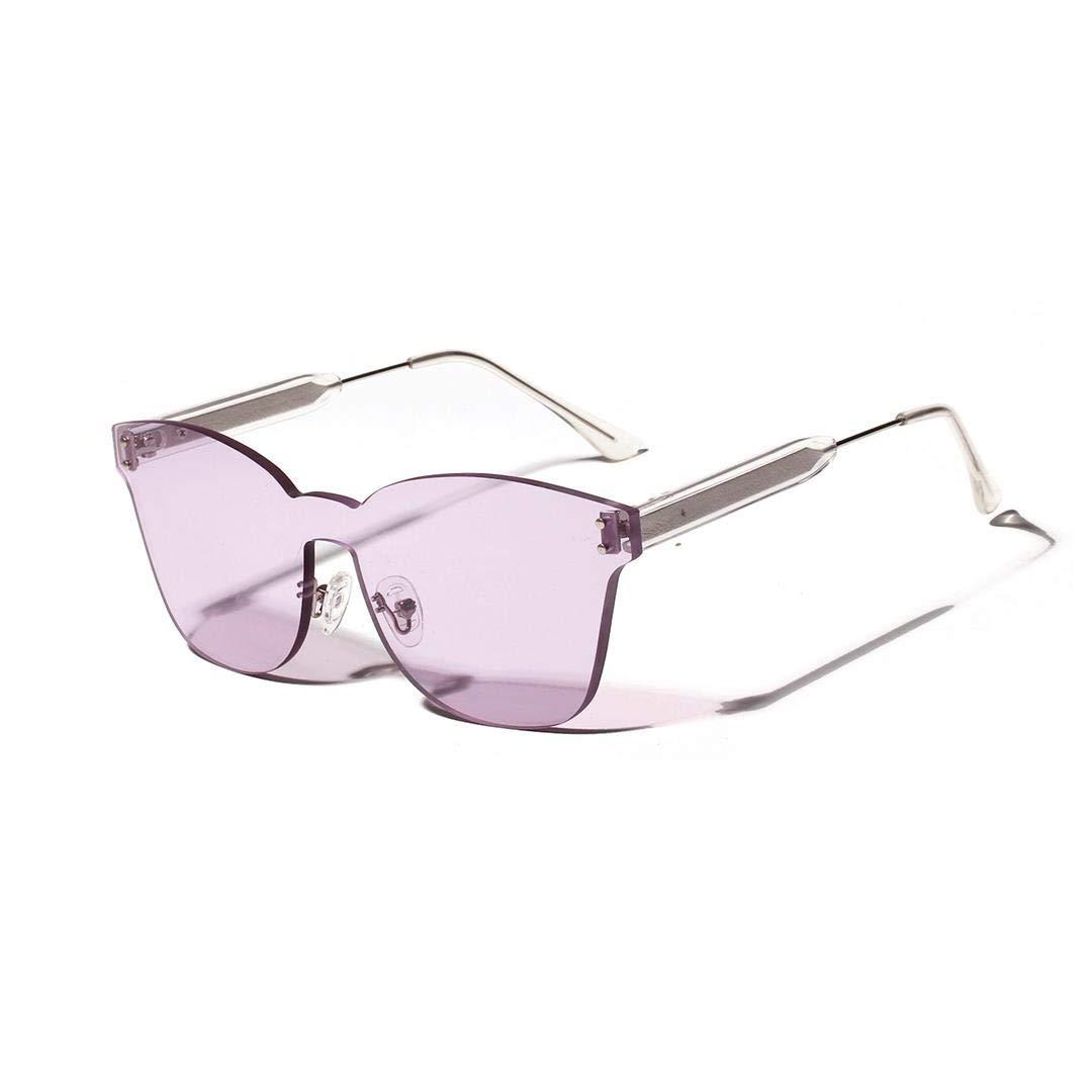 Fashion Womens Unique color Marine Sunglasses, OnePiece Lens, No Frame. Retro (color   Purple)