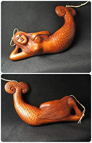 Extraordinary! Carved & Signed Basking Mermaid Boxwood Carving! 10410B