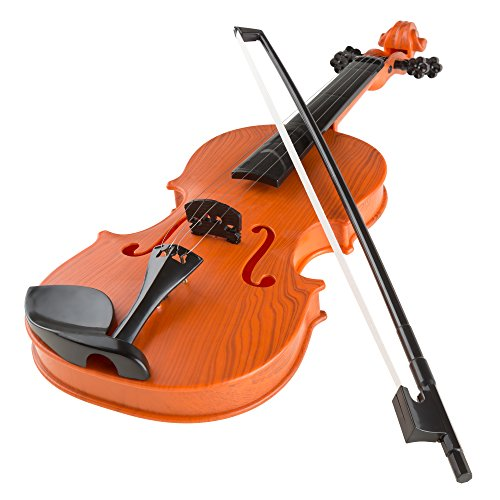 Hey! Play! Kid's Toy Violin with 4 Adjustable Strings and Bow - Musical Sounds- Realistic-Looking Instrument for Learning Classical Music