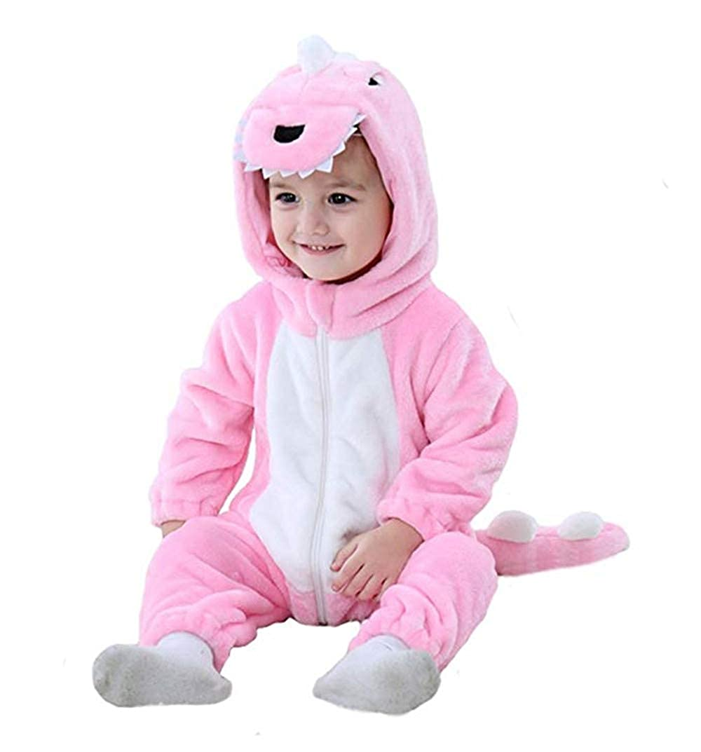 Baby Infant Dragon Costume, 2018 Autumn/Winter Baby Romper Jumpsuit Flannel Dinosaur Pattern Costume with Animal Hooded Cloth Romper for 0-3Y Baby