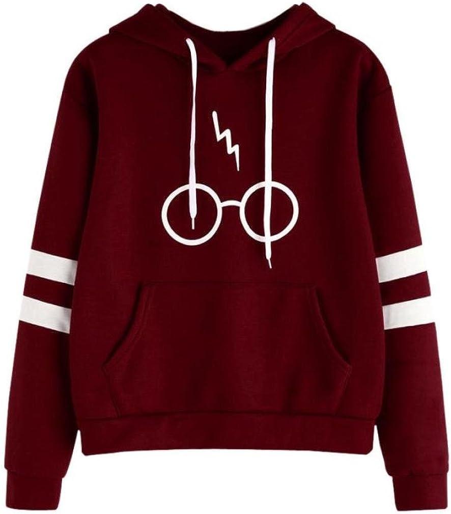 K-youth Mujer Sudaderas, Mujeres Harry ✿ Potter Gafas Estampado Sudaderas con Capucha Manga Larga Sudaderas Jersey de Bolsillo Tumblr Mujer Cortas Blusa Tops