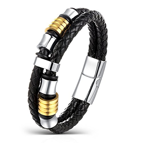 [Areke Braided Leather Bracelet Bangle Rope For Men Women,Stainless Steel Magnetic Clasp 7.5-8.5 Inch Item Length 7.5] (Mens Sports Costume Ideas)