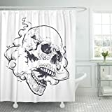 Emvency Shower Curtain Vaping Skull Steam Coming Out from Mouth and Nose Waterproof Polyester Fabric 60 x 72 Inches Set with Hooks