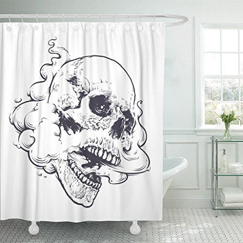 Breezat Shower Curtain Vaping Skull with Steam Coming