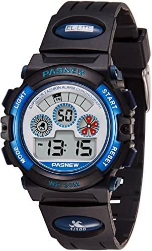 Kids Watches Boys Digital Sports Watch Waterproof Chronograph Alarm Running Watch Fun Black and Blue Child Wrist Watch with Day and Date