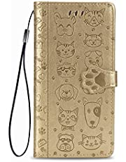 Miagon PU Leather Wallet Case for Samsung Galaxy A72,Cat and Dog Animal Design Embossing Flip Stand Function Cover with Card Slots Magnetic Buckle and Lanyard,Gold