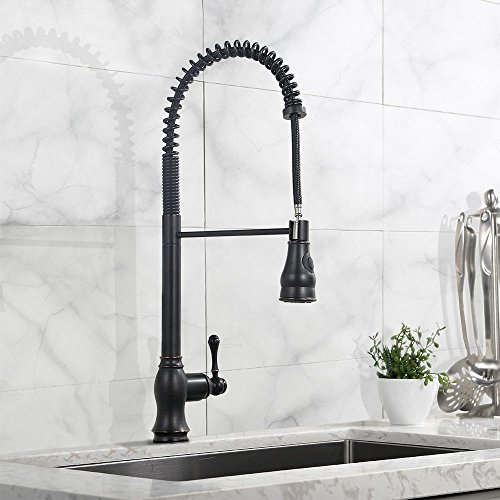 Comllen Best commercial Spiral Spring High Arch Stainless Steel Single Handle Pull Out Sprayer Oil Rubbed Bronze Kitchen Faucet, Single Lever Pull Down Kitchen Faucet With Soap Dispenser