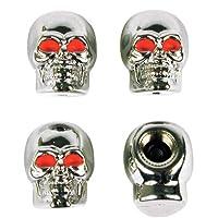 Accesorios personalizados Tapa de válvula estilo cráneo cromado 16220 -, paquete de 4
